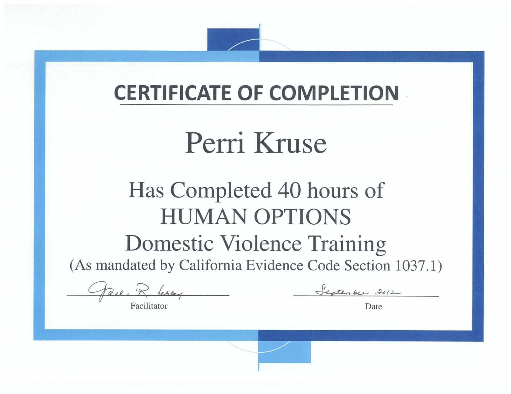 Perri Kruse, Certifications, MSW, LGSW, ACSW, LAPD, UCLA, Child Welfare