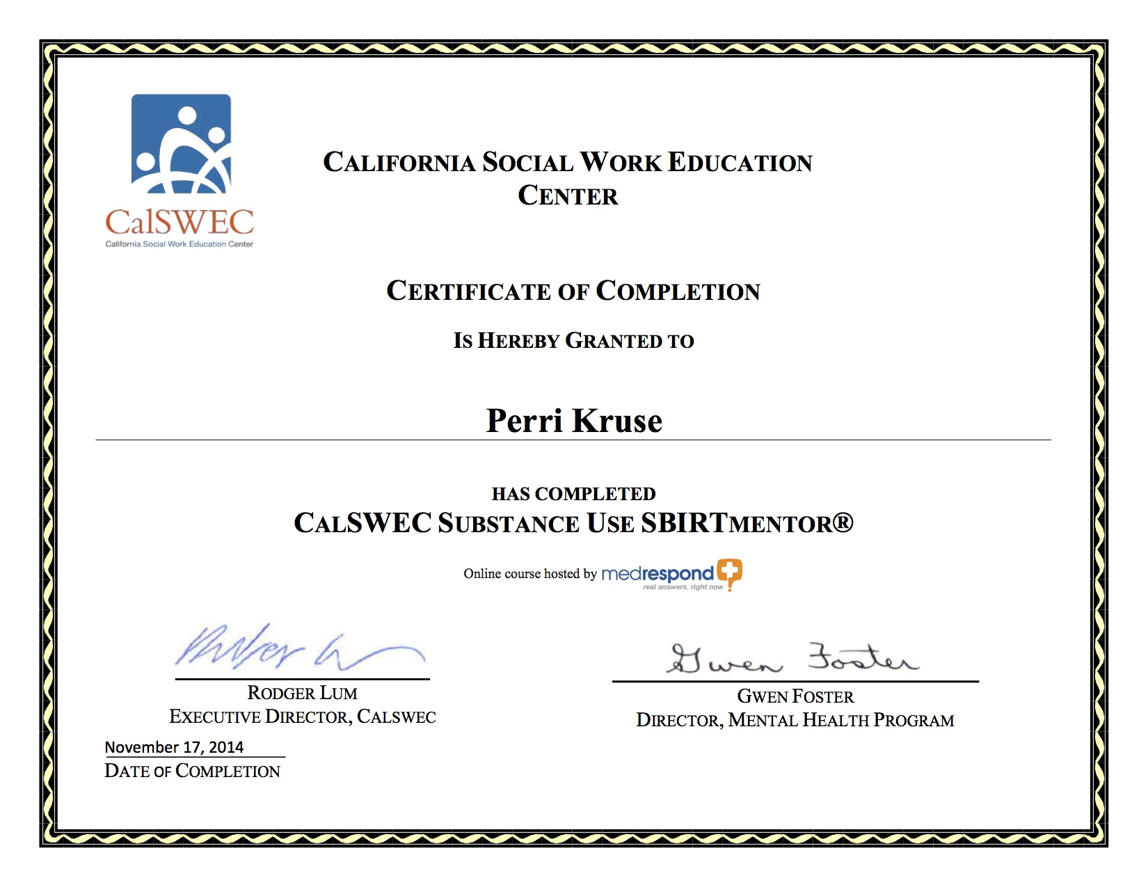 Perri kruse certifications msw lgsw acsw lapd ucla child certificate sbirt certificate xflitez Gallery